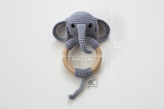 Elephant Crochet Rattle Teether