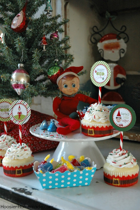 GENIUS Elf on the Shelf idea! He could host a cupcake party complete with SUPER CUTE toppers featuring himself!