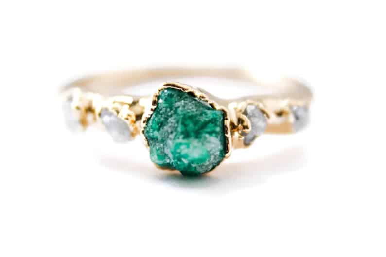 Emerald Engagement Ring with Raw Ethical Diamonds
