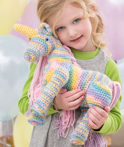 Enchanting Rainbow Striped Unicorn Crochet Pattern from Red Heart