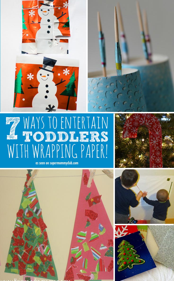Check out these great ideas for keeping toddlers entertained with leftover wrapping paper!