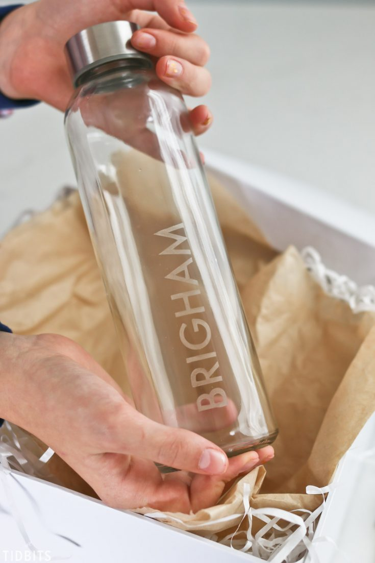 DIY Personalized Etched Glass Water Bottles