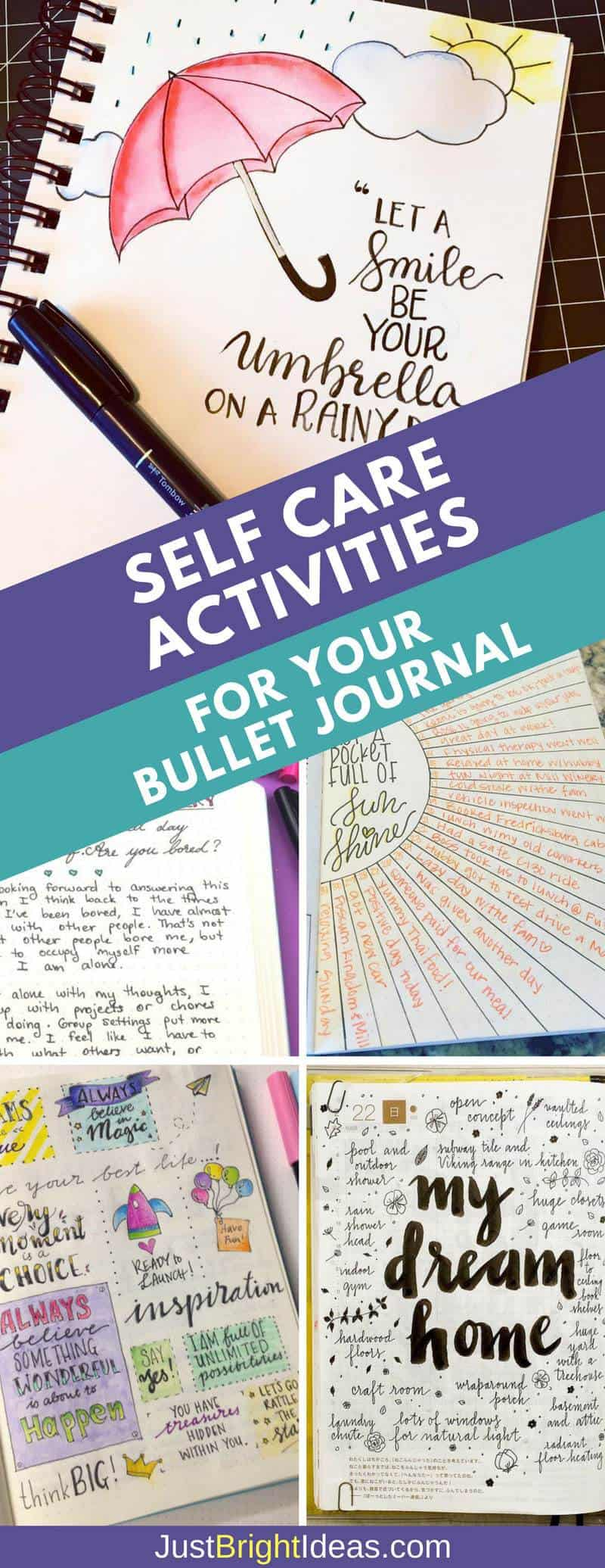 Examples of Self Care Activities for Your Bullet Journal