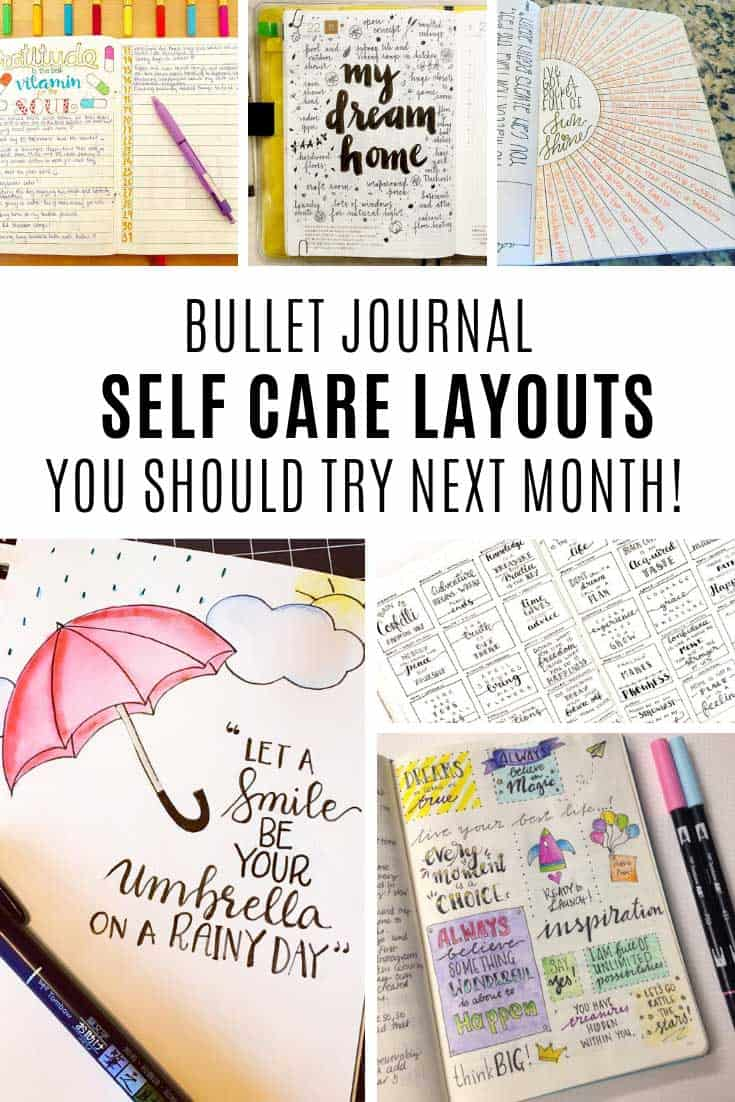 So many great examples of self care activities you can use your bullet journal for!