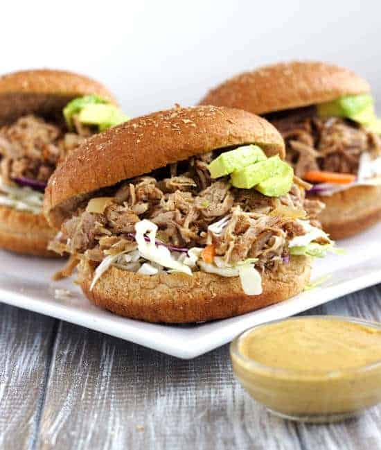 Slow cooker Pulled Pork with Avocado Ranch Dressing
