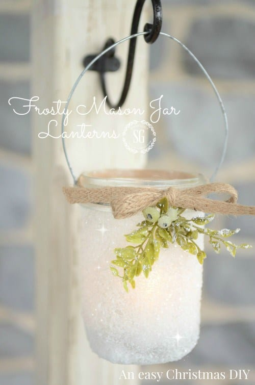 These Frosty Mason Jar Lanterns might just be the PRETTIEST thing I have seen all Christmas!