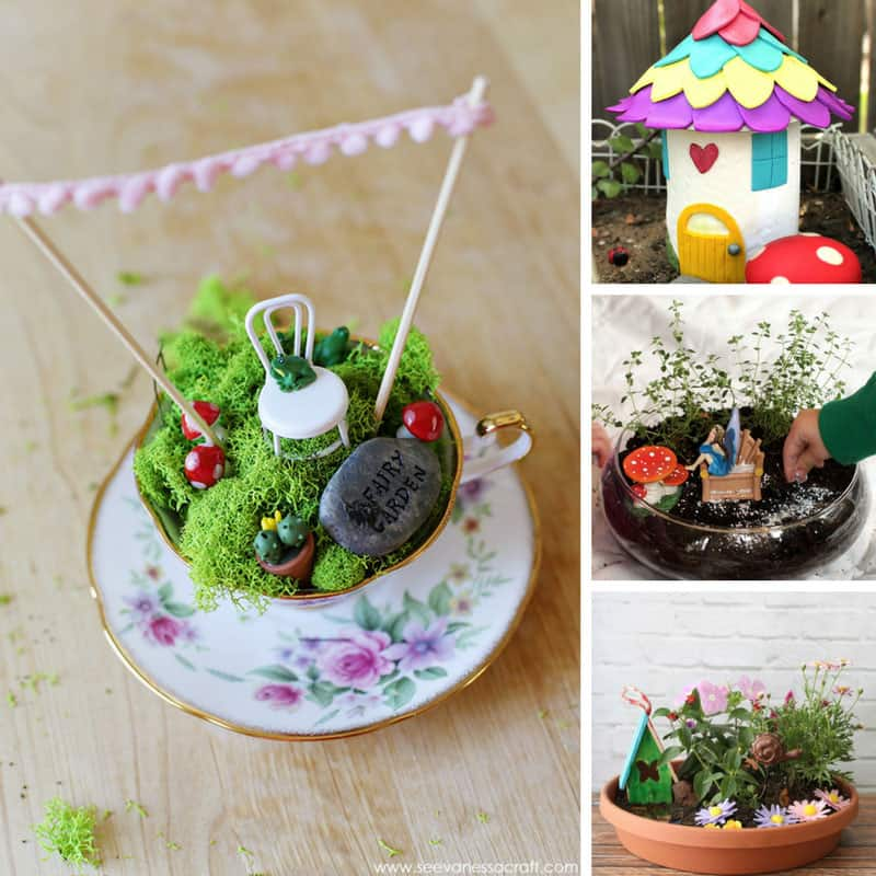 Totally in love with these fairy garden ideas - especially the one in a vintage tea cup!