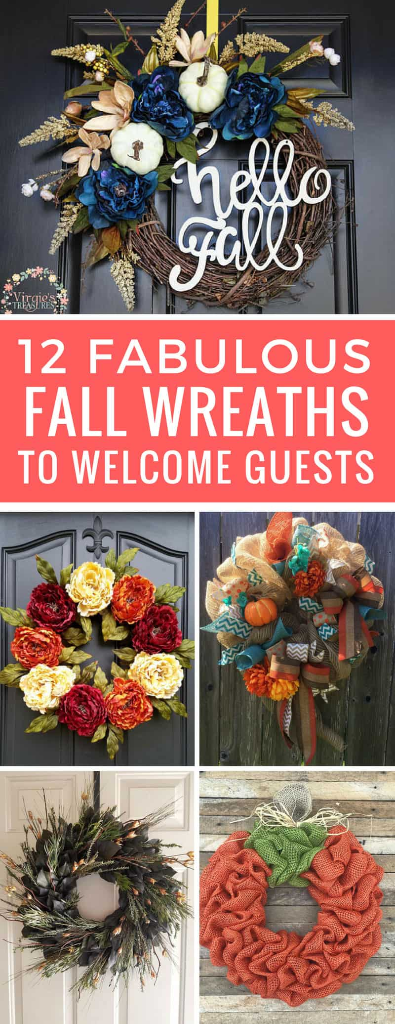 These Fall wreaths are beautiful! I can't wait to hang one on my front door! Thanks for sharing!