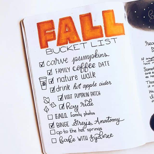 Fall bucket list hand lettering Bullet Journal
