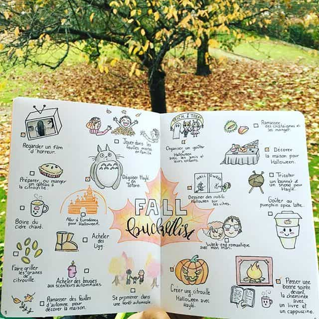 Fall bucket list with doodles for your Bullet Journal