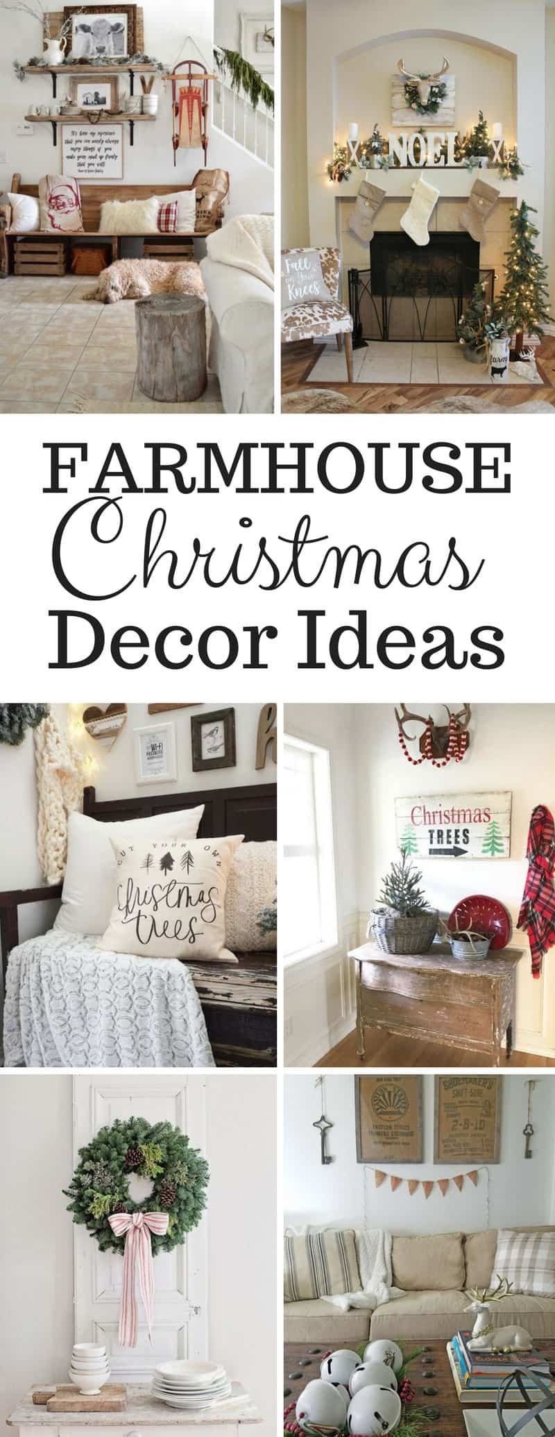Farmhouse Christmas Decor Ideas - Channel your inner Joanna Gaines with these wonderful Farmhouse Christmas decor ideas... Fixer Upper inspired wreaths, rustic Holiday signs, farmhouse pillows and even a Hot Cocoa Bar! They're all gorgeous and just what you need to festive up your home this Christmas!