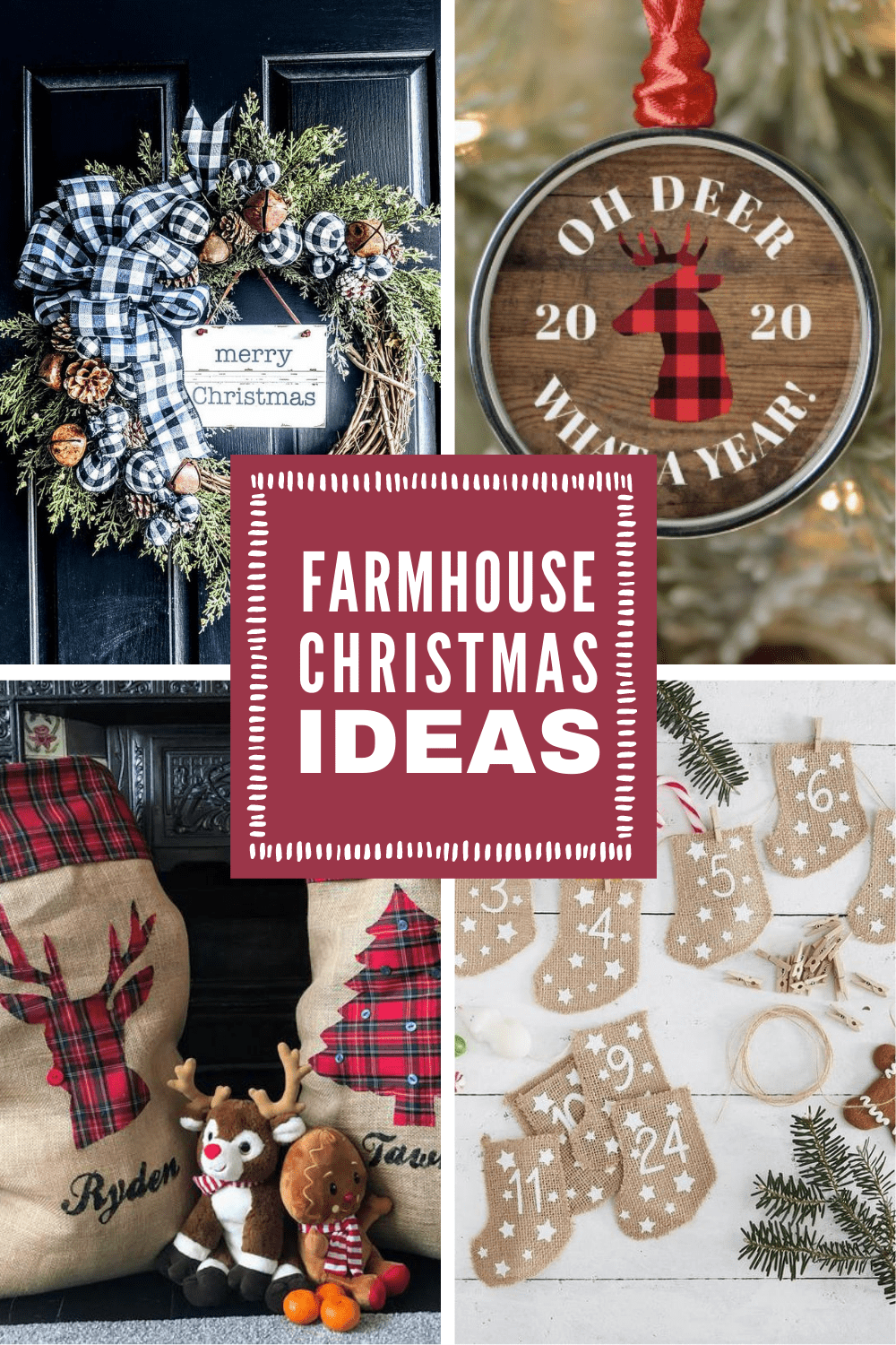 Channel your inner Joanna Gaines with these wonderful Farmhouse Christmas decor ideas... Fixer Upper inspired wreaths, rustic Holiday signs, farmhouse pillows and even a Hot Cocoa Bar! They're all gorgeous and just what you need to festive up your home this Christmas!