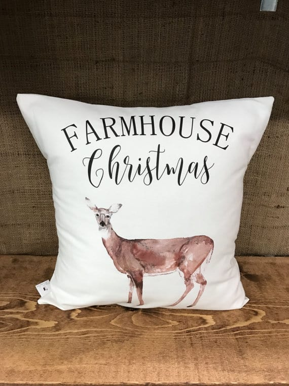 Farmhouse Christmas deer Cushion