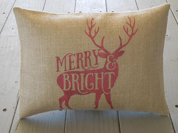 Farmhouse Deer Burlap Pillow