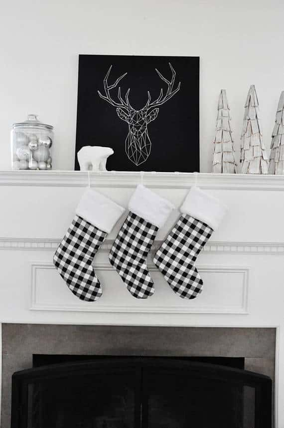 Farmhouse Modern Black and White Buffalo Check Stockings