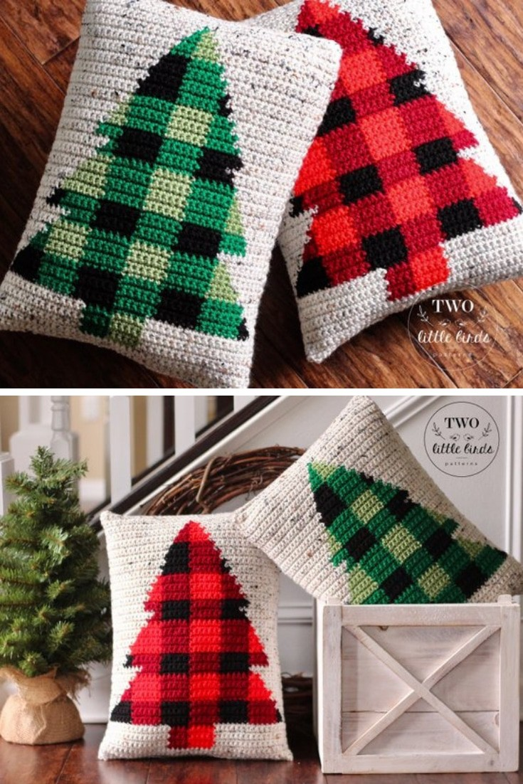 Farmhouse Style Buffalo Check Christmas Tree Pillow Crochet pattern