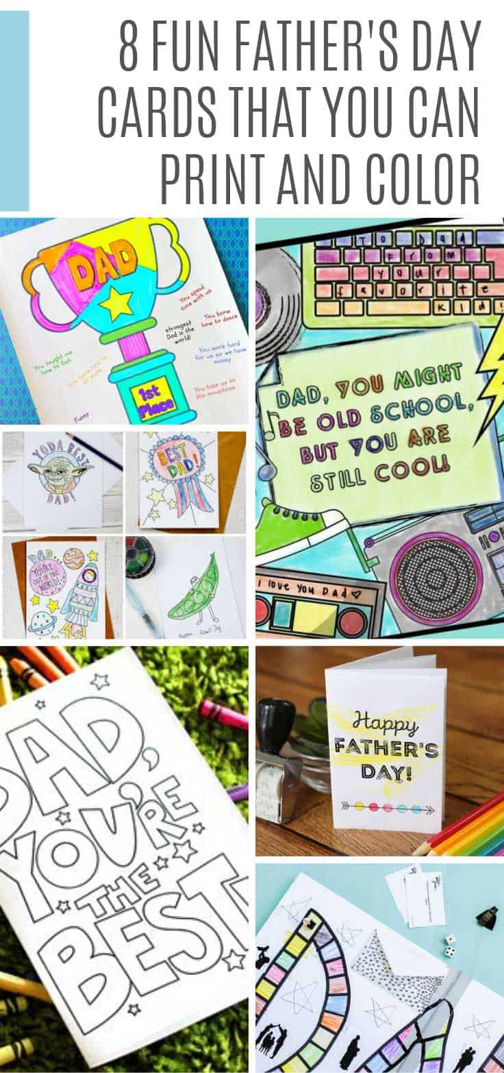 We searched high and low to find the cutest Father's Day Cards that you can print and color. Your kids will have a blast making one and dad is sure to love it!