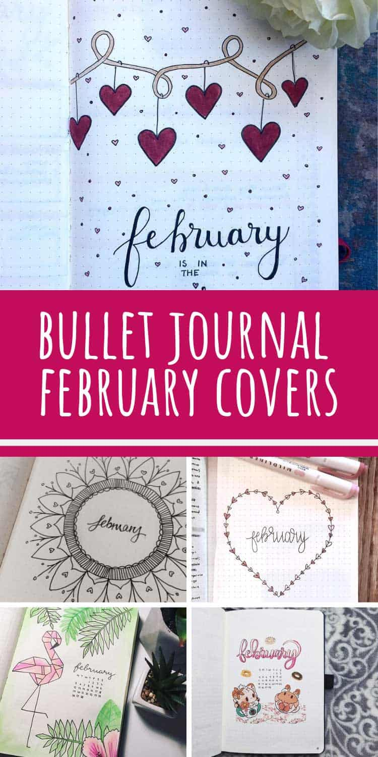 Loving these February bullet journal cover page ideas!