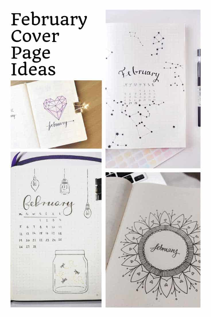 So many great February bullet journal cover page ideas to inspire!