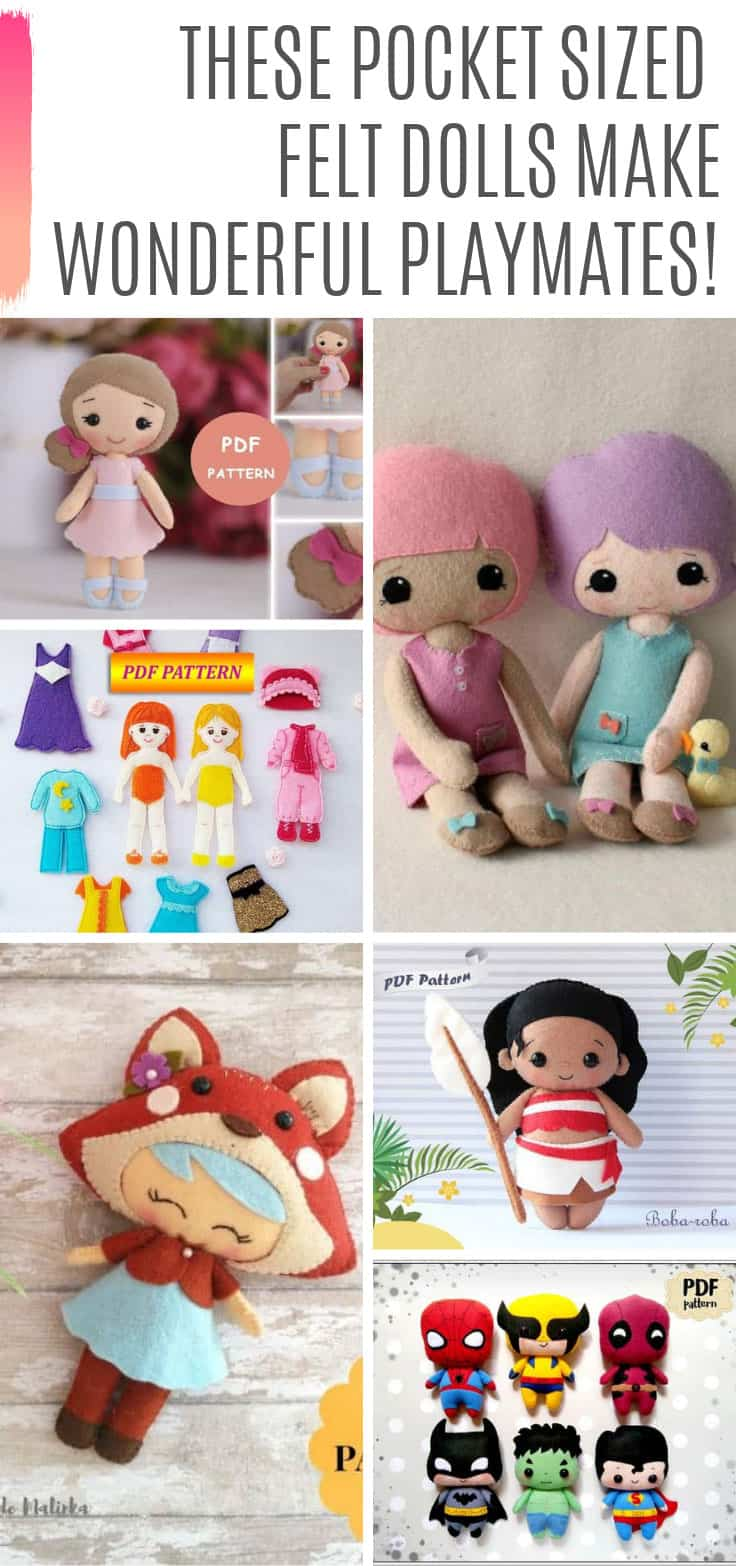 These felt doll patterns make perfect pocket sized playmates for boys and girls!