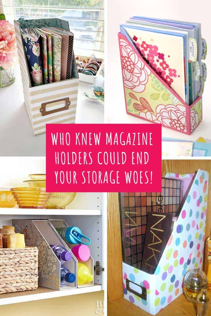 I bet you have a magazine holder or two on a bookshelf somewhere in your home filled with magazines, or papers. But did you know that you can use that simple magazine holder to help you organize a ton of other things?