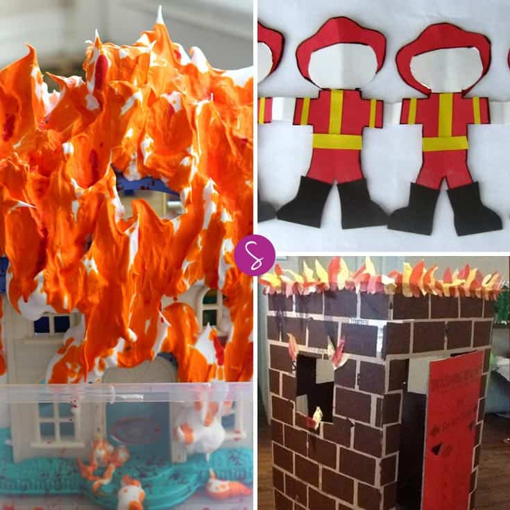 Firefighter Dramatic Play Ideas for Preschoolers: So many fun ways to pretend to be firefighters - we love the cardboard house on fire!
