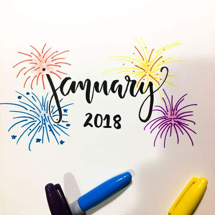 Fireworks January Cover Page Bullet Journal