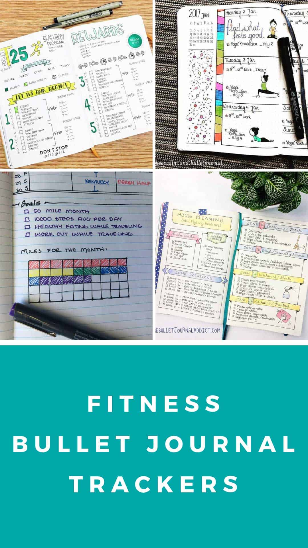 These fitness bullet journal trackers will help you monitor your goals for everything from C25K and BeachBody to yoga and weight loss #bulletjournal #fitness #exercise