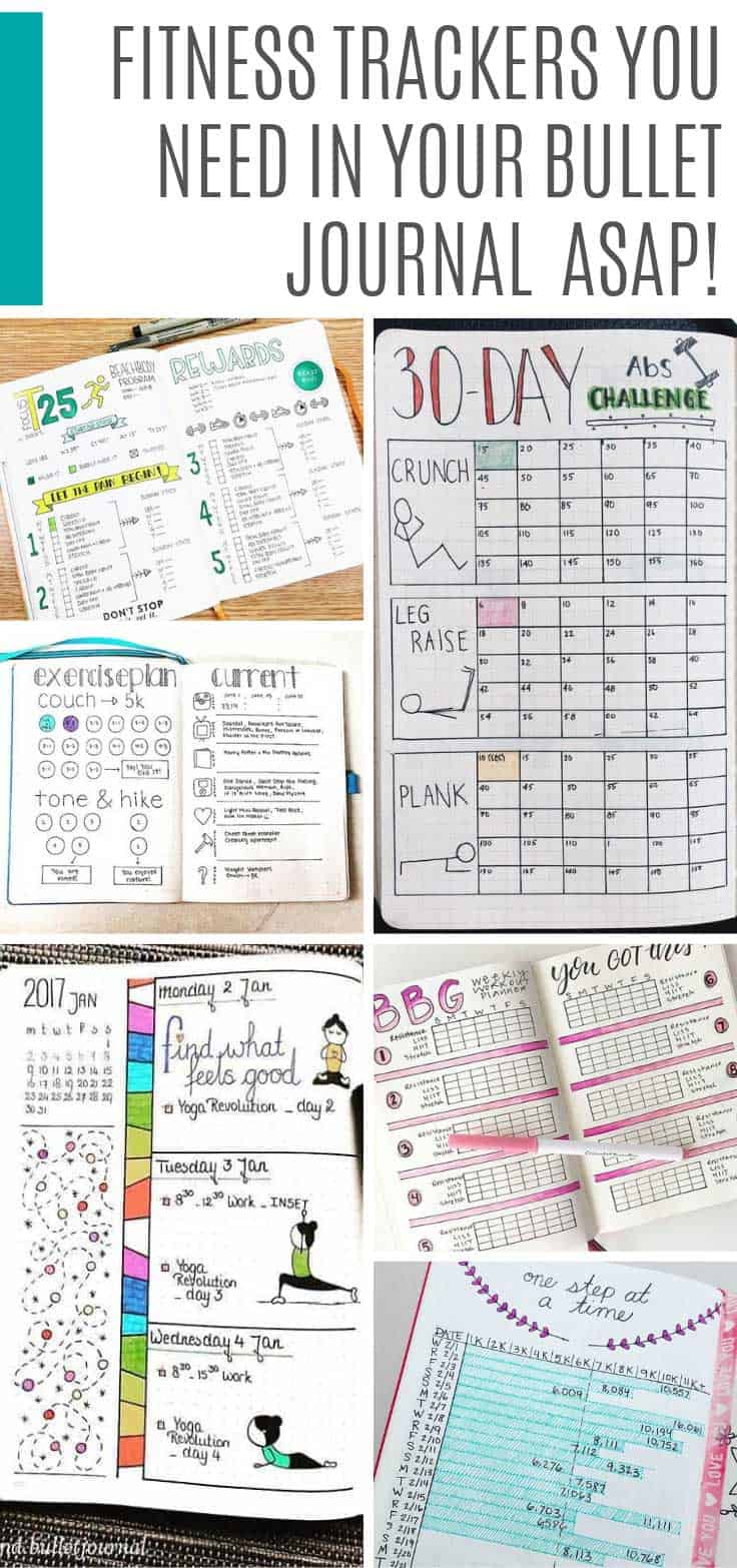 Try any one of these fitness trackers in your bullet journal to help you monitor your C25K and BeachBody to yoga and weight loss goals #fitness #bulletjournal #exercise