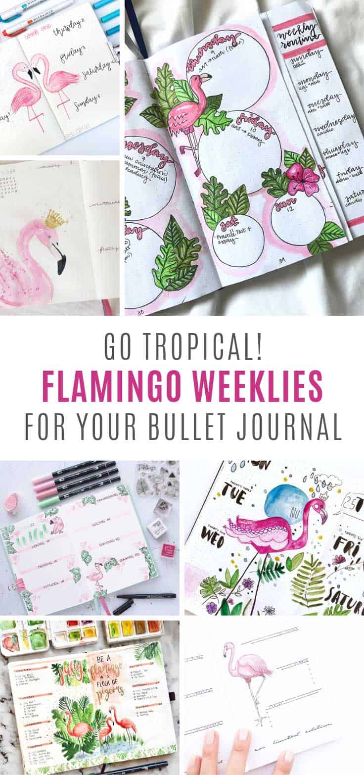 Loving the tropical feel to these flamingo bullet journal weekly spread ideas!