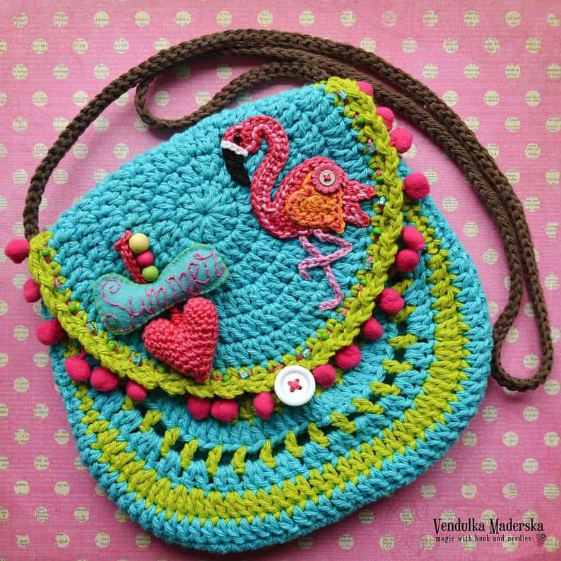 Flamingo Crochet Purse