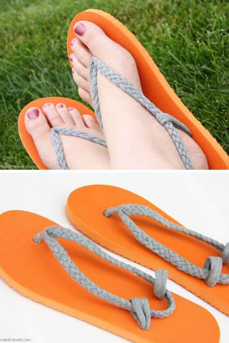 Flip Flop Refashion with Braided Straps