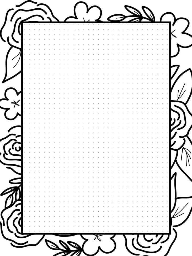 Pretty journal paper with floral border you can color in