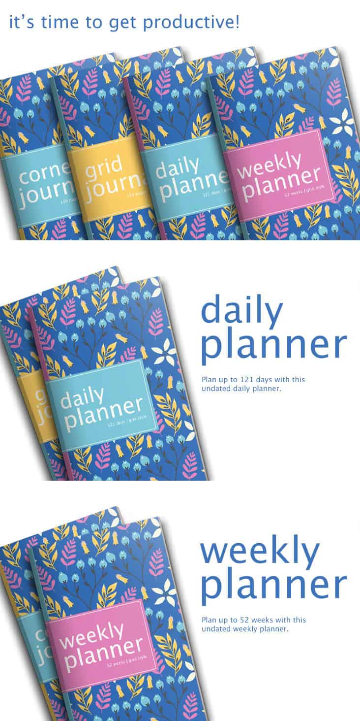 Take your productivity to the next level with this gorgeous mix and match set of pretty floral planners and journals.