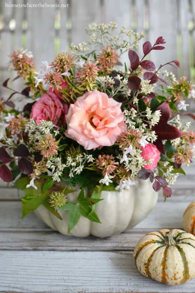 Floral Pumpkin Centerpiece No Carving DIY