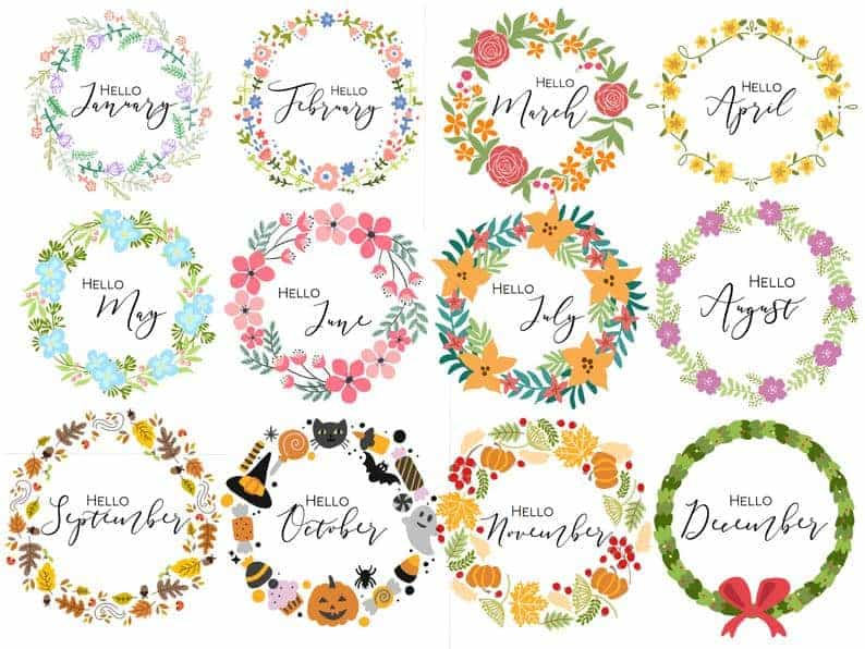 Floral Wreath Monthly Cover Pages
