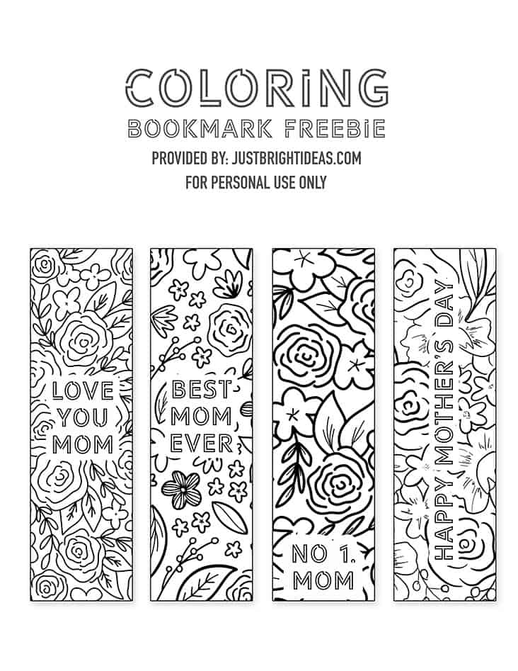 Download these freebie bookmark coloring printables and make a thoughtful gift for the mom who loves to read!
