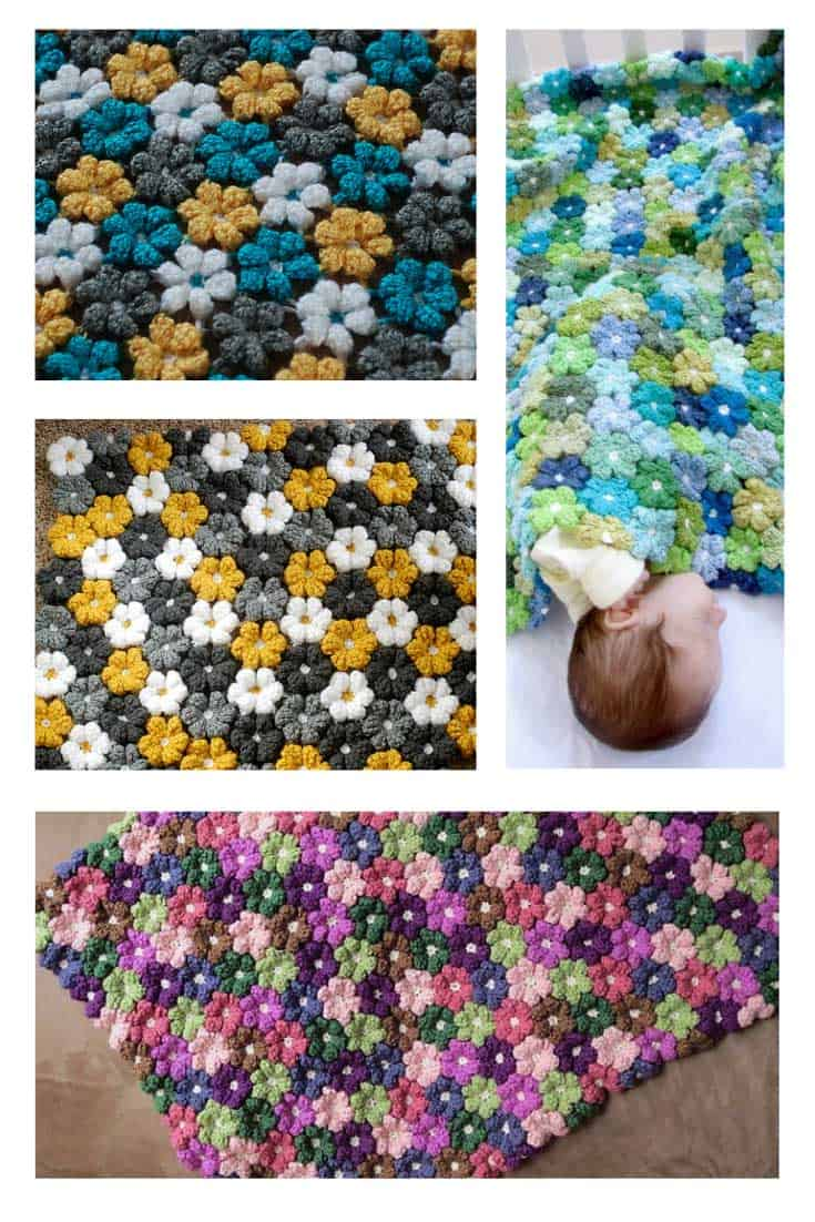 This flower baby blanket crochet pattern is just gorgeous!