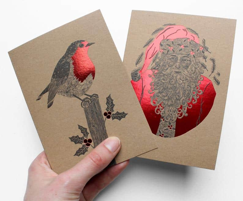 Foiled Handmade Christmas Cards by