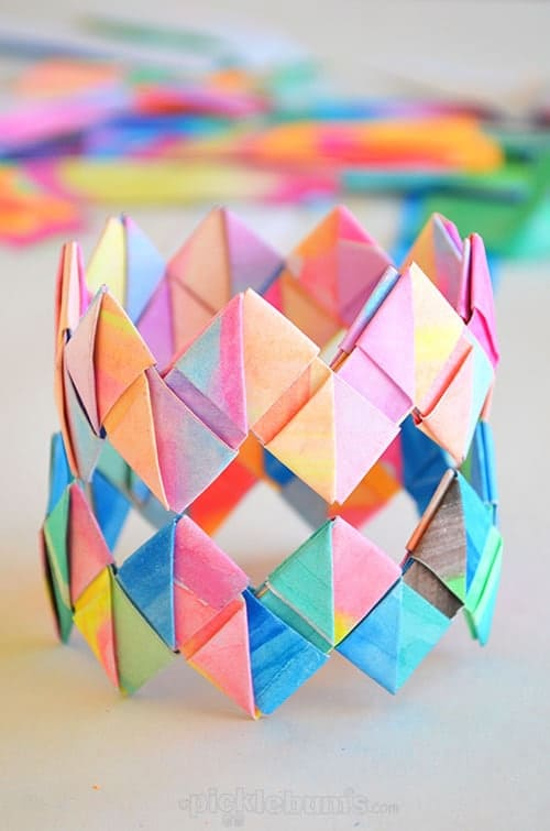 Kid's Artwork Folded Paper Bracelets