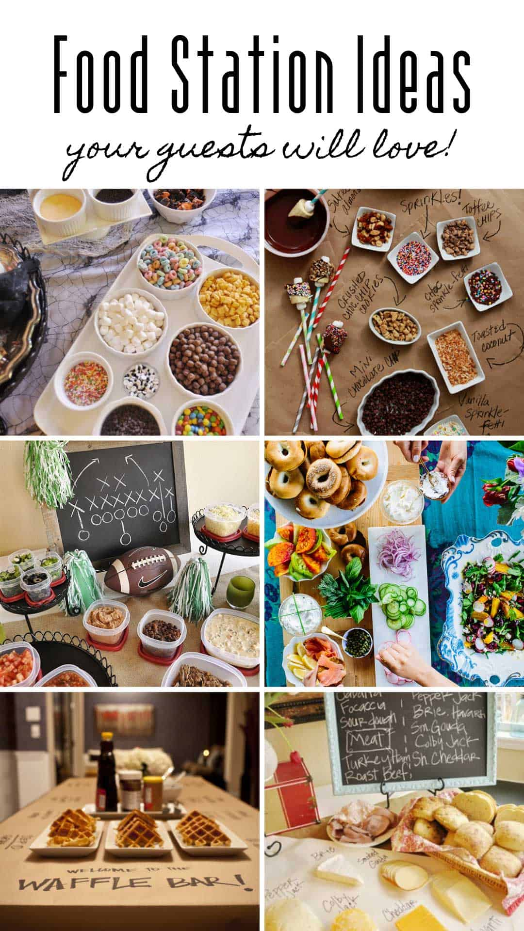 These food bar ideas are perfect for your graduation party, baby shower or wedding reception. We have so many great food station ideas to choose from - everything from waffles and donuts to savory choices!