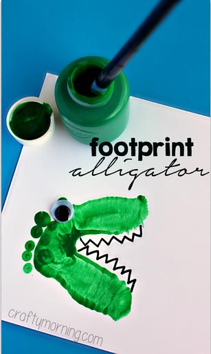 Alligator and Dinosaur Footprint Crafts for Kids
