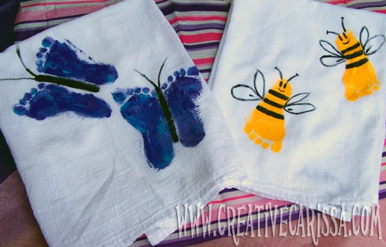 Make Bumble Bee & Butterfly Footprint Towels