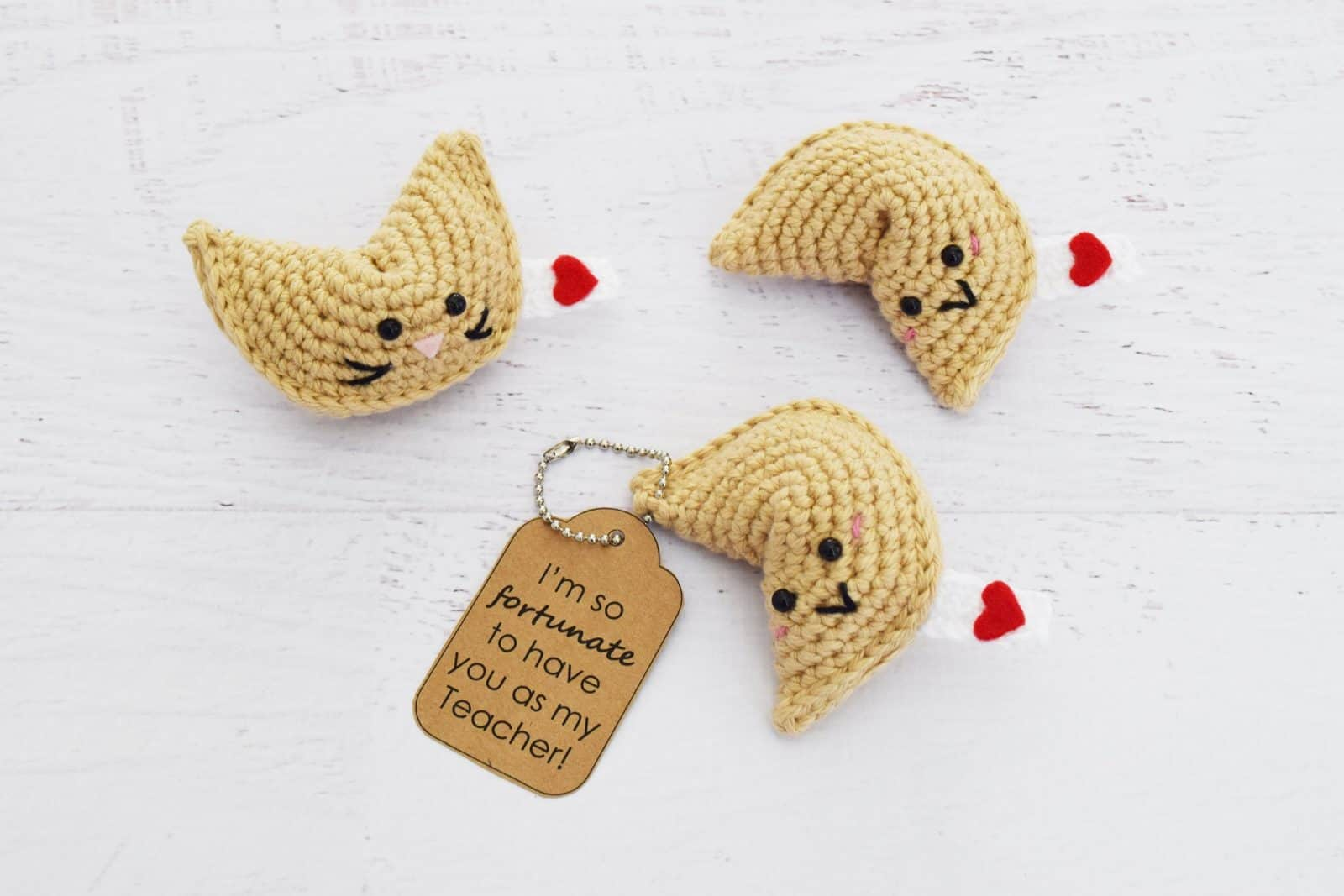 Fortune cookie keychain crochet pattern