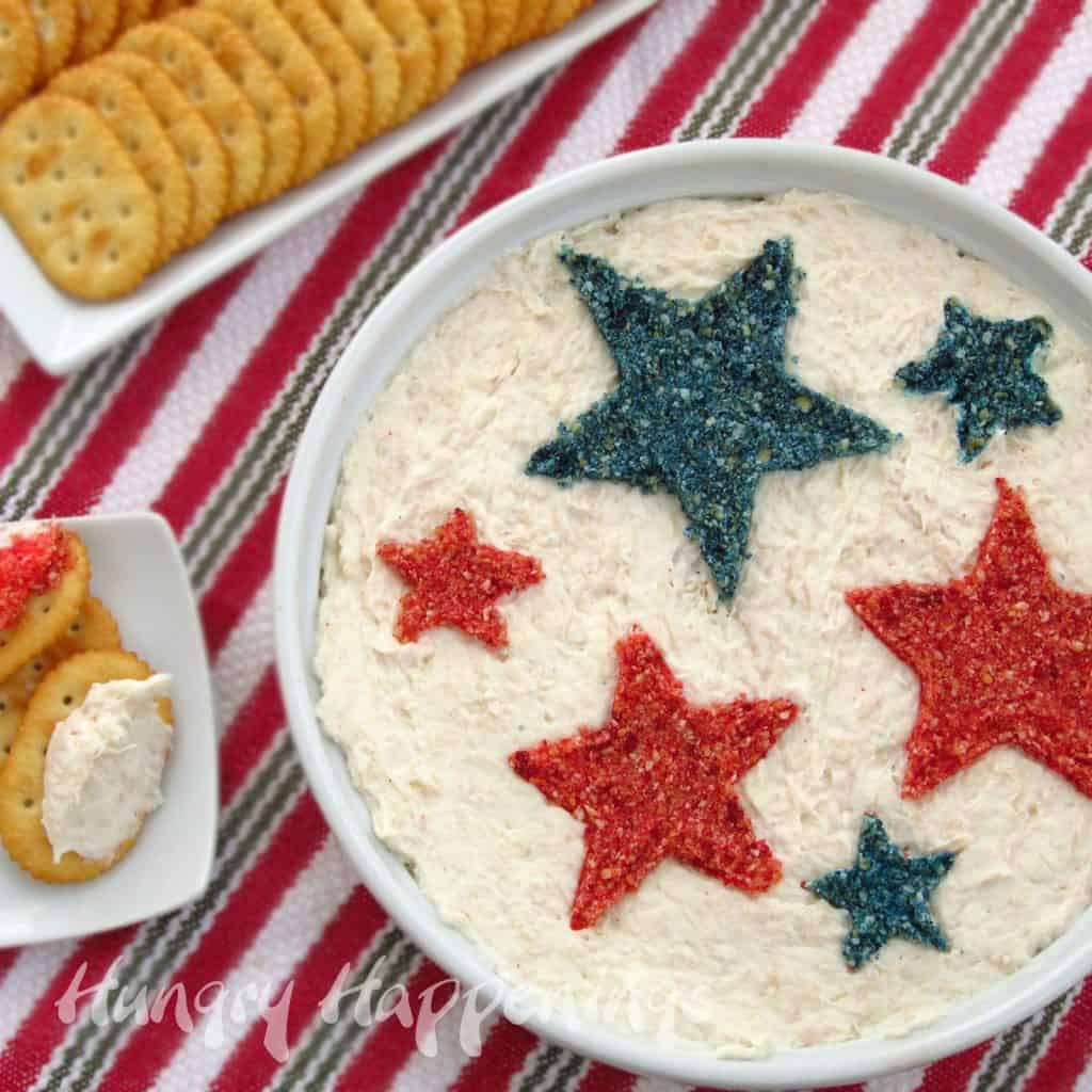 Decorated dip with red and blue cracker crumb stars