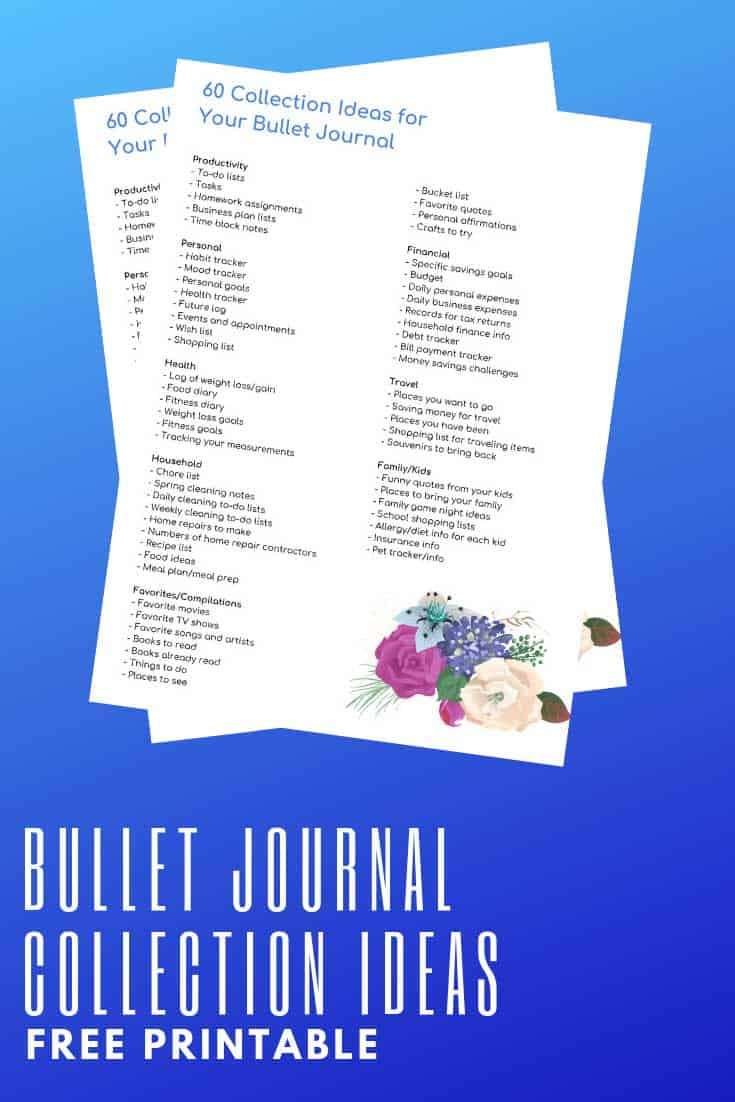 While you can come up with many other ideas on your own, here is an example of some collections you can include in your own bullet journal.