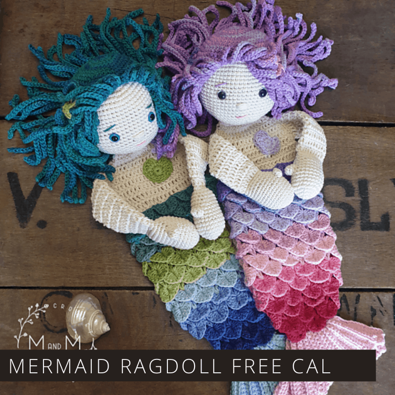 "You can make these sweet ""ragdoll meets lovey blanket"" mermaids as part of a free crochet along. Click through to find out how to join in the fun."