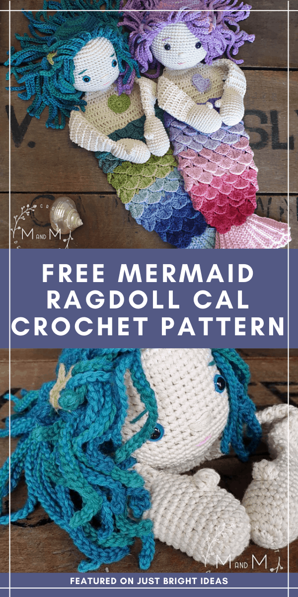 """You can make these sweet """"ragdoll meets lovey blanket"""" mermaids as part of a free crochet along. Click through to find out how to join in the fun."""