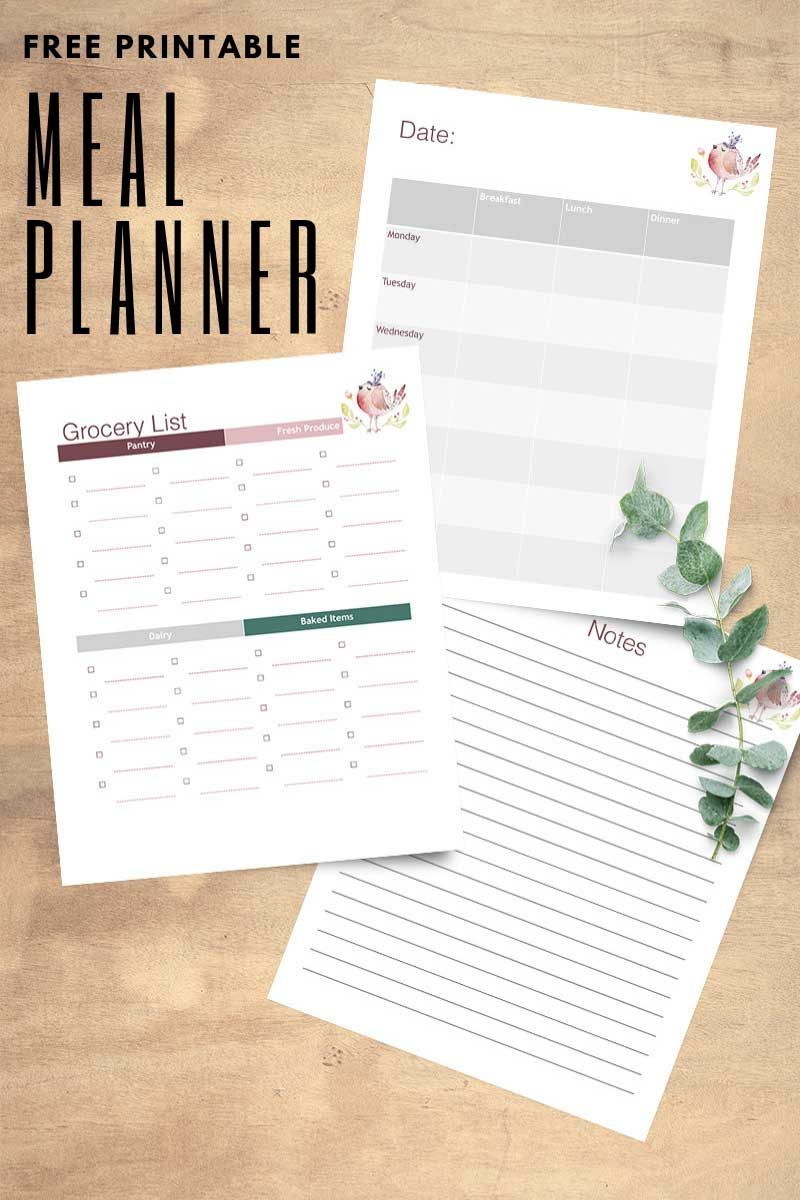 Download your free meal planner printable today