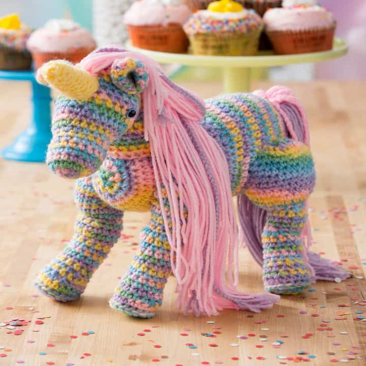 Free Rainbow Unicorn Crochet Pattern from Red Heart